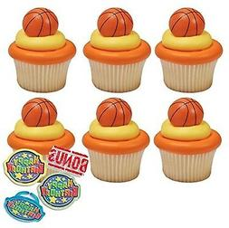 3D Basketball Cupcake Toppers and Bonus Birthday Ring - 25 p