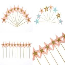 40 PC Colorful Twinkle Star Cake Topper Party Cocktail Tropi