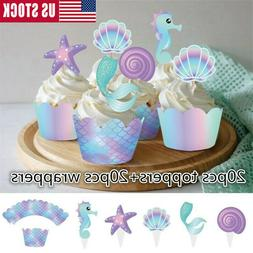 40Pcs/lot Mermaid Cake Wrappers Cupcake Toppers Baby Shower