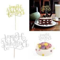 40pcs/Set Glitter Happy Birthday Cake Cupcake Topper Cake De