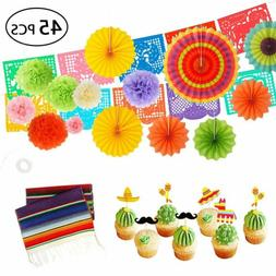 45pc Fiesta Party Supplies Papel Picado Banner Cupcake Toppe
