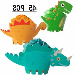 45pc T-Rex Triceratops Dinosaur Cupcake Wrappers Toppers Par