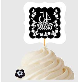 45th Birthday / Anniversary Blessed Cupcake Decoration Toppe
