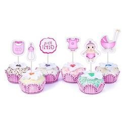 48 Cupcake Toppers Its a Girl Baby Shower Kids Party Cup Cak