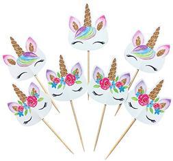 Kapoklife 1 11 48 Rainbow Cupcake Picks, Double Sided Unicor