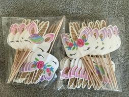 48 Pack RAINBOW Unicorn Cupcake Toppers Picks Double Sided C