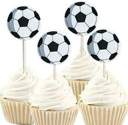 iMagitek 48 Pack Soccer Ball Cupcake Toppers Decorations for