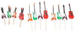 HUELE 48 Pcs Guitar Cupcake Toppers Musical Instrument Shape