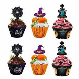 48 Pcs Halloween Cupcake Toppers Wrappers, Spider Witch's Ha