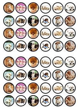 48 Puppies Dogs Edible PREMIUM THICKNESS SWEETENED VANILLA,