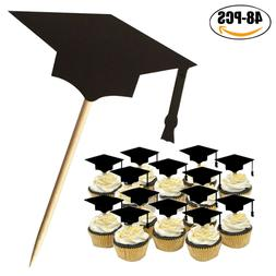 48Pcs Graduation Cap Hat Cake Topper Cupcake Picks Party wit