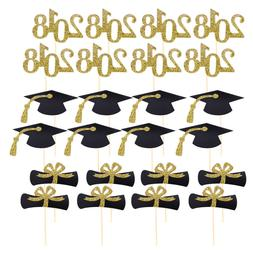 48Pcs Graduation Cupcake Toppers Cake Desserts Toothpick Top
