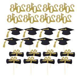48Pcs Graduation Cupcake Toppers Cake Desserts Toothpick Top