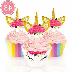 48pcs Rainbow Unicorn Cupcake Toppers & Wrappers Kids Birthd