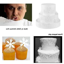 48Pcs Wafer WHITE Edible Snowflakes Cupcake & Cake Toppers D