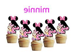 4th birthday Minnie Mouse cupcake toppers,cakepop toppers, c