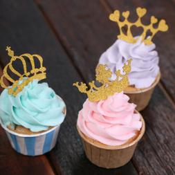5/10pcs Glitter Crown Cupcake Toppers Wedding Party Cake Dec
