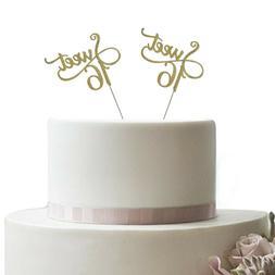 5 pack - Gold Glitter Monogram Sweet 16 Cake Topper, 16th Bi