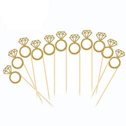 50 Pack Cupcake Toppers Gold Glitter Mini Diamond Ring Cakes