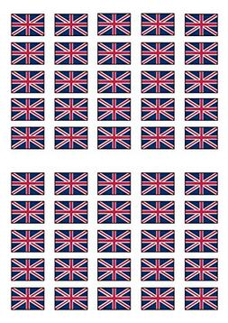 50 British Union Jack Flag Edible PREMIUM THICKNESS SWEETENE