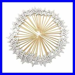 50 Pcs SILVER Star Cupcake Toppers Twinkle Little Decoration