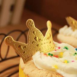 50pcs Gold Crown Cupcake Toppers,Wedding Picks,Party Picks,F