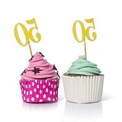 50PCS Gold Cupcake Toppers 50 Cupcake Picks for 50 Anniversa