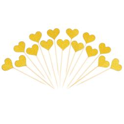 BESTOMZ 50pcs Heart Cupcake Toppers Gold Glitter Heart Large