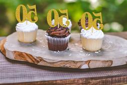 50th Birthday Cupcake toppers  Gold Glitter birthday cupcake