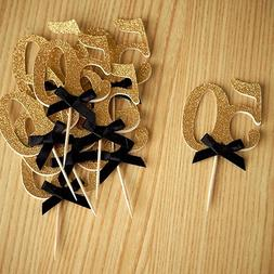 "50th Birthday Party Ideas. Number ""50"" Cupcake Toppers - Set"