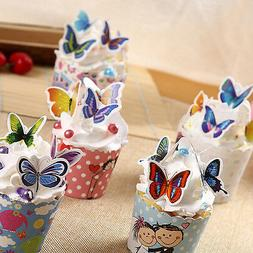 50x Butterflies Wedding Birthday Paper Cupcake Cake Toppers