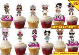 56 LOL SURPRISE DOLLS Glam Glitter Cup Cake Party Toppers Wa