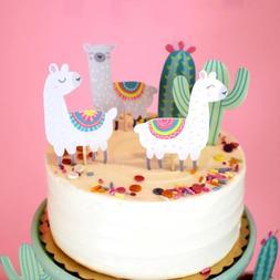 5pcs Alpaca Cactus Cake <font><b>Topper</b></font> Lama Part