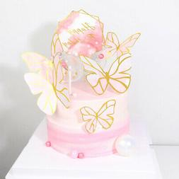 5Pcs Butterflies Cake Toppers Happy Birthday Cupcake Baby Ho