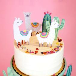 5pcs Cactus Alpaca <font><b>Llamas</b></font> Unicorn Cake <