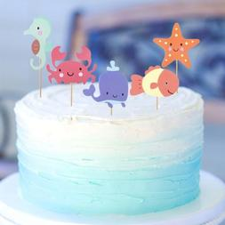 5Pcs Ocean Sea Animal Cupcake Toppers For Under The Sea Them