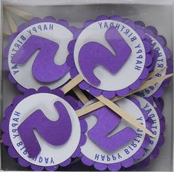 """5th Birthday Cupcake Toppers 12ct 2 """" in Diameter Shimmer Pu"""