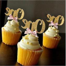 6/12Pcs Glitter ONE Cupcake Toppers Picks First Birthday Par