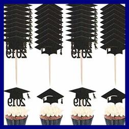 60 PC Graduation Cupcake Toppers Class Of 2019 Topper Picks