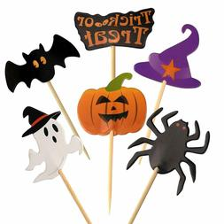 60 Pieces Halloween Cupcake Toothpick Toppers Flags Party De