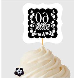 60th Birthday / Anniversary Blessed Cupcake Decoration Toppe