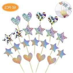 60x Cupcake Toppers Glitter Star Heart Love Cake Picks Birth