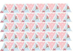 65 or 130 Edible Bunting Flags Pink Spot Blue Floral Icing S