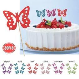 6Pcs DIY Wood Butterfly Cupcake Cake Topper Flags Birthday W