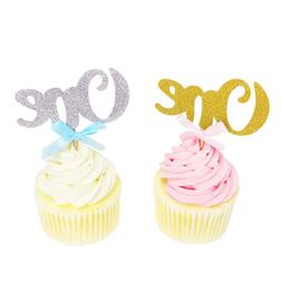 6pcs One Year Birthday Cupcake Toppers Anniversary Party Cak