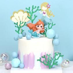 6PCS Starfish Mermaid Happy birthday Cake Toppers Cupcake Ba