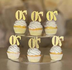 70th Birthday Cupcake toppers  Gold Glitter birthday cupcake