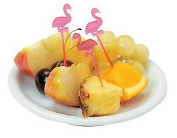 72 PINK FLAMINGO FOOD COCKTAIL APPETIZER PICKS CUPCAKE TOPPE