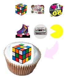 80's Theme Era Edible Party Cupcake Topper Frosting Icing Sh