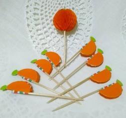 9 Miniature Halloween Honeycomb Pumpkins Cupcake Picks Toppe